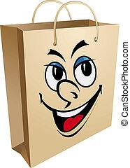 Smiling shopping bag