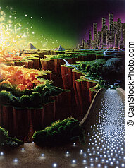 evolution of civilization - surreal picture painted by me,...
