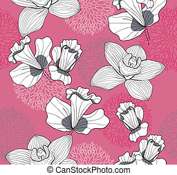 Seampless pink flower pattern - Seamless pattern with...