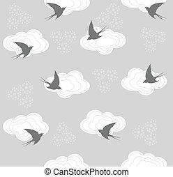 Cute seamless bird, cloud pattern
