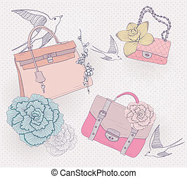 Fashion handbags, purses background - Fashion bags...
