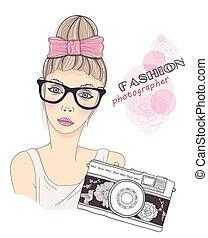 fashion girl photographer - Fashion girl photographer vector...