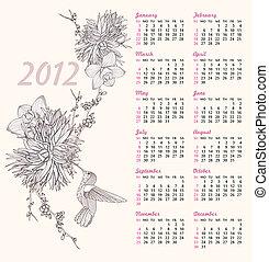 2012 flowers birds pattern calendar
