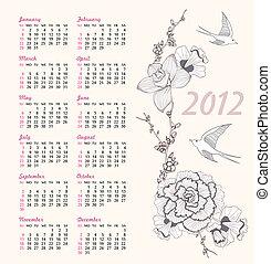 2012 floral bird pattern calendar