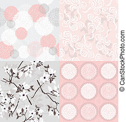 Seamless floral patterns set - Set of seamless floral...