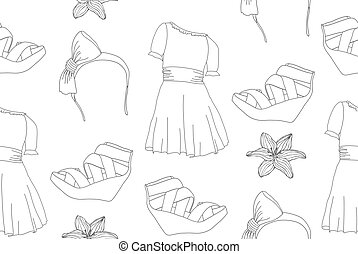 Seamless fashion pattern - Hand drawn cute fashion seamless...