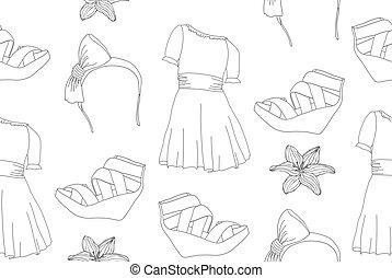 Seamless fashion pattern - Hand drawn cute fashion seamless...