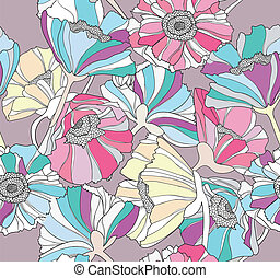 Seamless poppy flower pattern - Seamless pattern with...