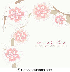 Card or invitation with flowers - Romantic Pink Flower...