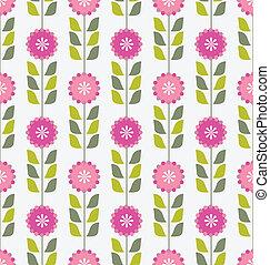 Pink spring flowers pattern