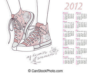 2012 calendar with sneakers shoes