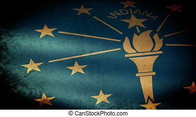 Indiana State Flag Waving, grunge