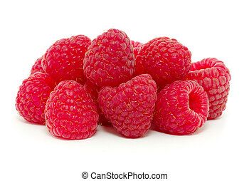 raspberries isolated on white background