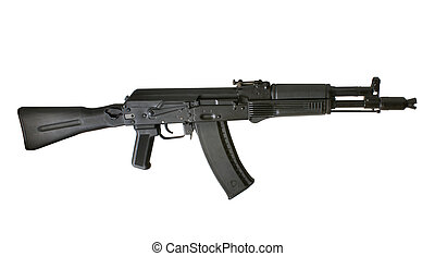 Kalashnikov AK-105 machine gun isolated on the white...