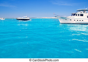 yatch in turquoise beach of Formentera - Luxury yatch in...