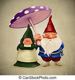 Spouses gnomes - Little spouses gnome under the big fungus