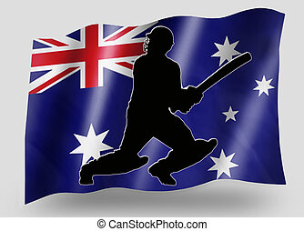 Country Flag Sport Icon Silhouette Australia Cricket Batsman...