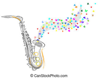 sketch of the saxophone - Sketch of the saxophone vector...