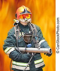 a, bombeiro, Regimentals, contra, fogo
