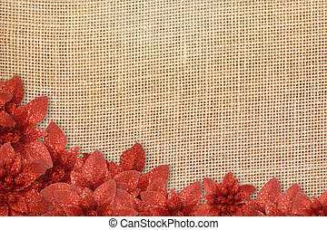 rustic background Christmas poinsettias - Christmas...