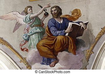 Amelia Terni, Umbria, Italy - Cathedral interior, ceiling...