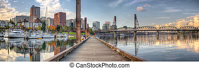 Marina along Willamette River in Portland Oregon Downtown...