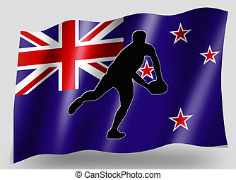 Country Flag Sport Icon Silhouette New Zaaland Rugby Pass