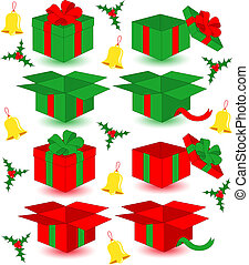 Closed and opened Christmas gift - Christmas collection of...