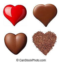 corazón, amor, alimento, postre, pedazos, dulce,  chocolate