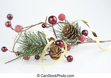 Christmas still life - pine branch with cones and red...