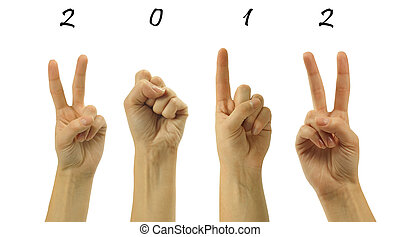 The number 2012 are shown via fingers in creative New Year...