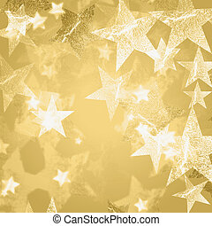golden and white stars over beige background with feather...