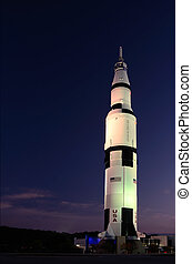 Saturn V in the Nightlights - Saturn V rocket as sitting on...