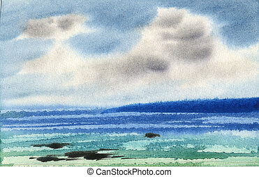 Water colour landscape - Sea water colour landscape
