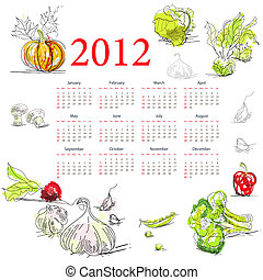 Calendar for 2012 with vegetable