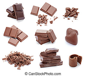 chocolate dessert pieces sweet food - collection of various...