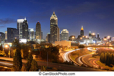 atlanta georgia cityscape - cityscape of downtown atlanta,...