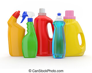 Different detergent bottles on white background. 3d