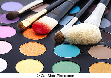 Makeup brushes and make-up eye shadows - Set of make-up...