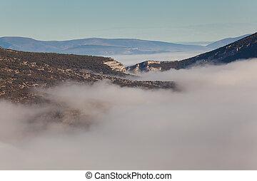 Fog in the Merindades, Valdenoceda, Burgos, Castilla y Leon,...