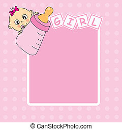 Baby girl arrival announcement card Picture frame or text