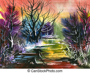 water colour landscape - Winter water colour landscape with...