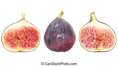 Fresh fig fruit and fig halves isolated on white