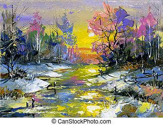 Rio, madeira, Inverno, paisagem