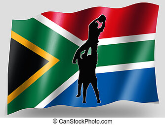 Country Flag Sport Icon Silhouette South Africa Rugby...