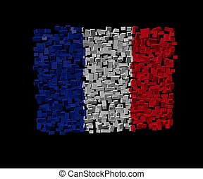 French flag on blocks illustration