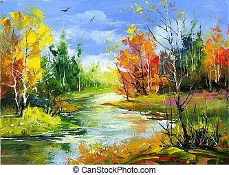 Outono, paisagem, madeira, Rio