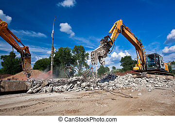 Site Demolition - Concrete Crusher and Hydraulic Crushing...