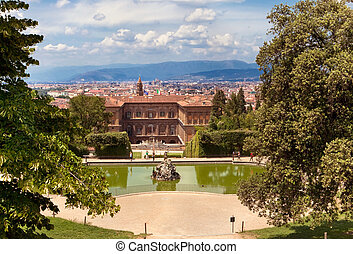 Boboli Gardens and palazzo Pitti - View of Florence Italy...