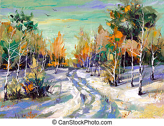 Winter road to wood - The winter landscape executed by oil...